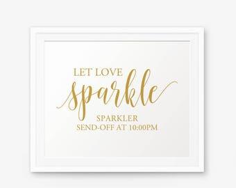 Let Love Sparkle Wedding Printable, Sparkler Sign, Gold Wedding Printable, Wedding Sign, Wedding Decor, Send Off Sign, landscape sign