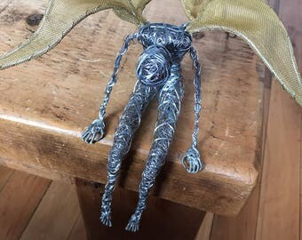 Fairy sculpture UNFINISHED Wire pixy girl ornament angel