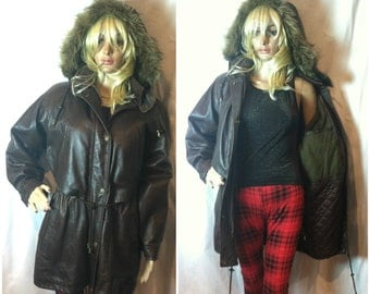 Vintage 90's Brown Leather Hooded Jacket Size Small Parka Jacket Brown Coat Grunge Coat Detachable Hood