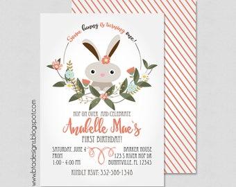 Bunny Birthday Party Invitation 3, Customized, Digital File