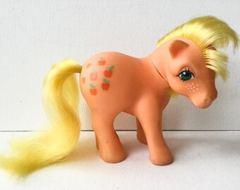 G1 Vintage My Little Pony, Applejack, Orange Earth Pony, Fringe Cut, Hasbro, Year 2, 1983, 01319
