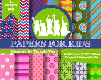 Digital Papers, Tickety Toc, Background, Kids, Birthday, Invitation, Clipart, Papers for kids