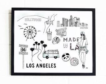 Los Angeles Print / Los Angeles Wall Art / Los Angeles Wall Decor / Fashion Poster / LA Poster / Los Angeles drawing / Los Angeles