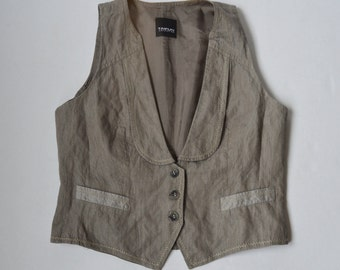 Grey Womens Vest Formal Fitted Romantic Classic Waistcoat Traditional Steampunk Vest Cottage Chic Beige Sleevless Coat Medium Size