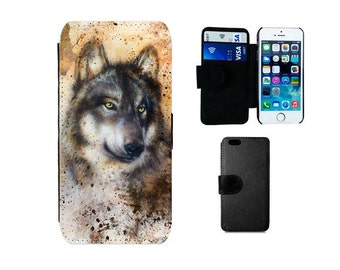 Wallet case iPhone 6 6S 7 8 Plus, SE X 5S 5C 4, Samsung Galaxy S8 Plus, S7 S6 Edge, S4 S5 Mini, Wolf husky phone cover, dog lover gift F285