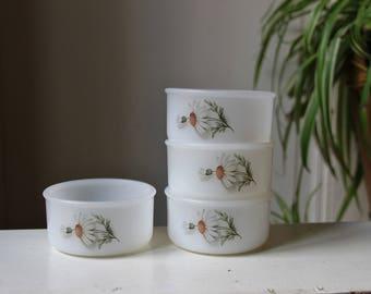 Set of 4 small ramekins bowls ARCOPAL France Scania 70s / kitchen pop tableware / Holy10