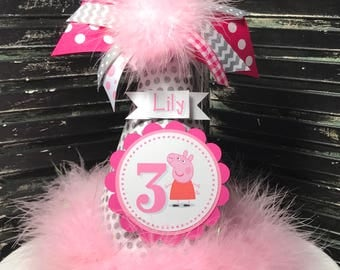 Peppa Pig Party Hat - Cake Smash Hat - Personalized Hat - Peppa Pig Party - Pink and Grey - First Birthday Hat - 1st Birthday