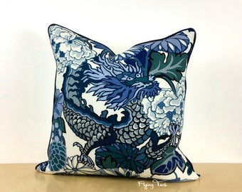 China Blue Chiang Mai Dragon Pillow cover - Same Fabric Both Sides - Piped Finish - Customize - Schumacher Designer Fabric