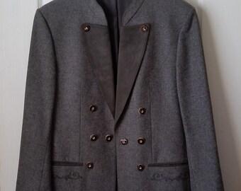 AUSTRIAN LODEN Wool Sportcoat Men's LARGE Vintage Grey Echter-Tiroler-Loden Weyrer Innsbruk Tirol Jacket Tyrolean Tailored Coat