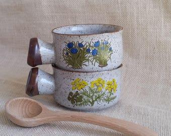 Stoneware Soup Mugs Set of 2 Wildflower Stoneware Soup Bowls Rustic Stoneware Bowls Stoneware Mugs