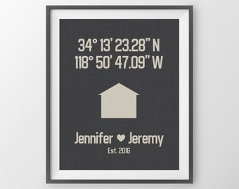 First Home Gift Couple Housewarming Gift For Couple Coordinates Print New Home Gift Latitude Print Latitude Longitude Anniversary Gift