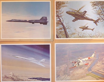 Vintage Lockheed Aeronautical Posters - Set of 4 - Lockheed 200 Supersonic Transport - XH 51 A Rigid Rotor Helicoptor - X 15