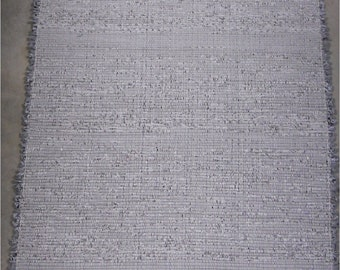 Rag Rug in Shades of Gray, Black and White Hand Woven Cotton Blend