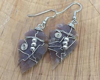 Purple Arrow Head Earrings