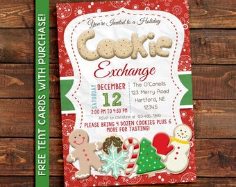 Cookie Exchange Party Invitation,  Cookie Swap party invitation, holiday cookie party invitation
