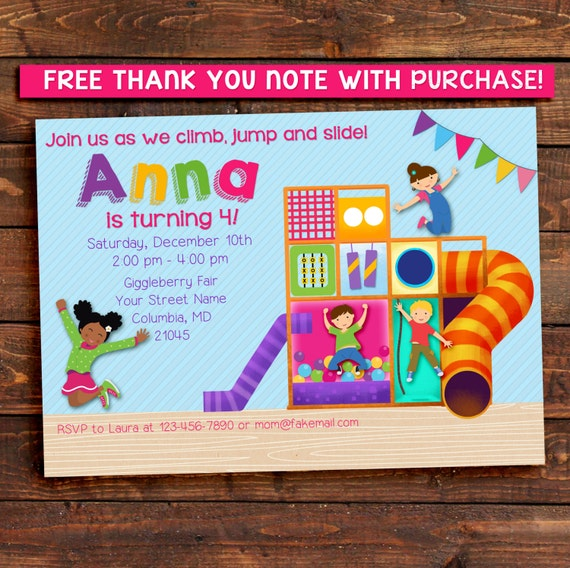 Indoor Playground Party Invitation / Jungle Gym / African American girl