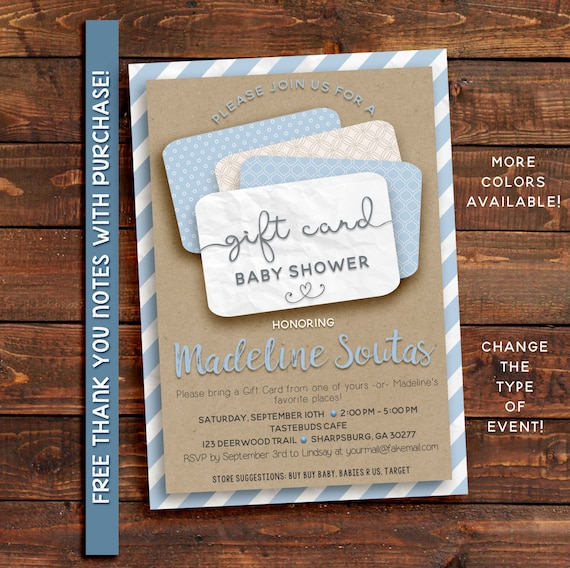 Baby shower invitation, gift card shower invitation, shower invitation