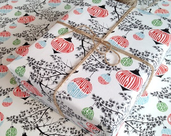 Christmas Wrapping Paper gift wrap sheets in a modern retro style seasonal pattern, christmas cards to match