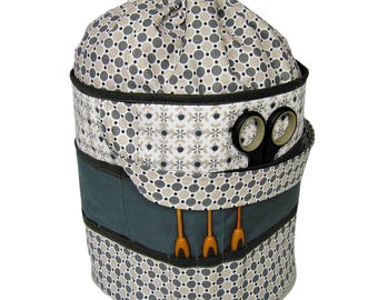 Handmade drawstring knitting bag, crochet project bag, storage, organizer, basket, craft, gift, sewing bag