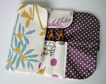 Handmade crochet hook case, organiser, holder, crochet hook storage, purple