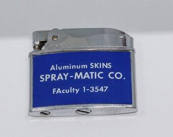 Vtg Aluminum Skins SPRAY-MATIC CO. Lansing Automatic Advertising Lighter
