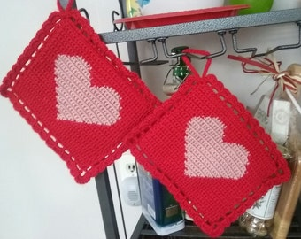 Crochet Potholders set of 2,Crochet Potholders with Heart set of 2,Crochet  Gift, Crochet Home Decoration,Crochet Kitchen Decoration