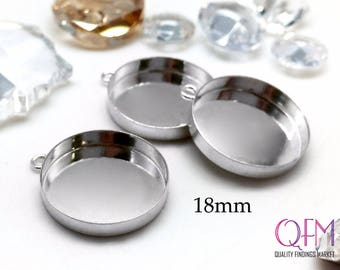 6 pcs Sterling Silver 925 Round Bezel cup 18mm with one loop - Jewelry Basis, Silver Pendant Basis, Silver Bezel Cup