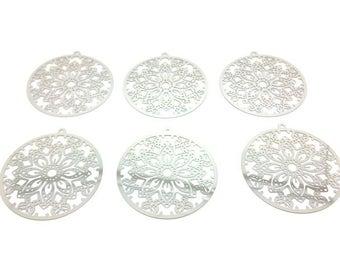 10 round butterflies 51x48mm silver Platinum prints