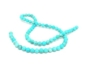 63 round Turquoise beads natural 6mm