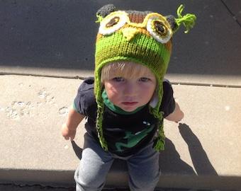 Handmade wool Owl Hat * Soft Fleece Lining
