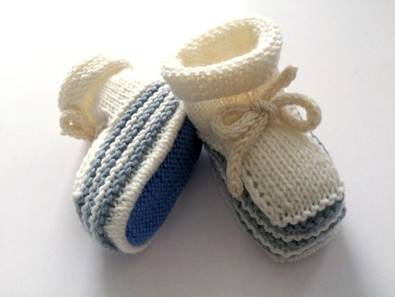 Hand Knit Baby Booties / Slippers /Shoes, White Soft Merino Wool Baby Booties with Light Grey Stripes, New-born Baby Knitted Booties