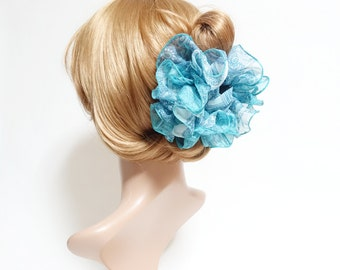 Chiffon Paisley Print Ruffle Wave Hair Jaw Claw Clip Women Hair Accessory