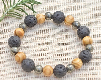 Mens natural stone wood bracelet, Mens gemstone stretch bracelet, Lava rock stone bracelet, Stacking bracelet, Yoga bracelet Beaded bracelet