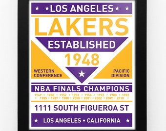 Los Angeles Lakers Dual Tone Modern Team Print Framed
