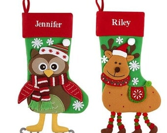 Personalized christmas stocking holidays Decoration snowman monogram christmas stockings christmas ornaments/6 styles