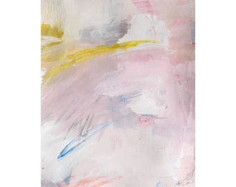 Spring abstract acrylic painting pink oastel contemporary art 'change' works on paper