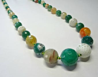 Top Quality Faceted Agate Beads, Round, Mixed colours, Mixed Sizes, Full Strand