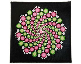 Dot Art Mandala mini canvas 10 x 10 cm.