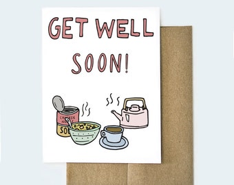 Get Well Soon Card, Get Well Card, Feel Better Card, Get Well Card for Friend, Sorry You're Sick Card, Sympathy Card, Handmade Get Well Card