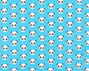 Mini Blue Panda Heads Fabric Ann Kelle Urban Zoologie Mini's Kaufman Cotton BTY