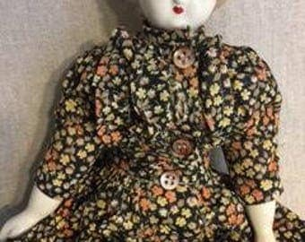Vintage doll, Victorian China head cloth baby doll, Cloth body doll, China head doll, Antique doll, Vintage ceramic doll,