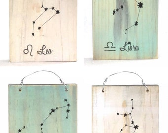 Constellation Zodiac Signs - Reclaimed Wood Signs