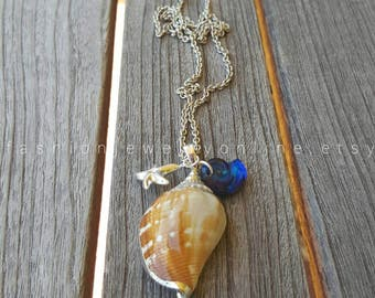Sterling silver necklace, Sea shell necklace, Swarovski crystal necklace, Beach Jewelry, Beach wedding, Gifts for her under 50