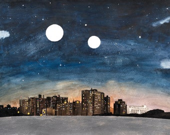 """14x17"""" Art Print from a Watercolor Painting - Project Skyline, a NYC view"""