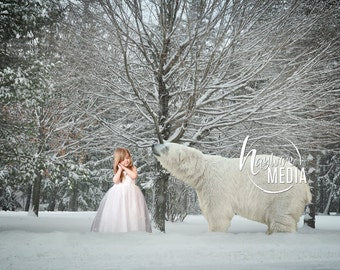 Creative Children's Outdoor Winter Snow Trees with Polar Bear Animal, Photography Digital Backdrop Art - Child Nature Portrait JPG