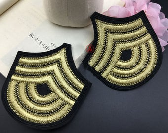 gold 2pairs 10.5x11.5cm embroidery shoulder appliques patches ML427I011 free ship