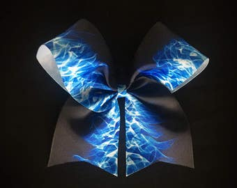Blue flames on black cheer bow