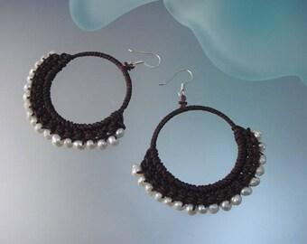 White Freshwater Pearl Hoop Earrings - Hand-crocheted Earrings with Pearl and Sterling Silver