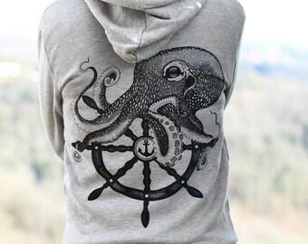 Women's hoodie jacket, octopus zip hoodie, womans sweatshirt, octopus print, women's sweater, zip jacket for women, girlfriend gift