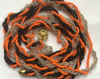 Vintage Glass Beads Twisted Necklace/1970s/Made in Latvia/Orange Black Golden tone glass beads/soviet vintage/Russian vintage/Soviet era